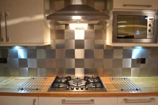 Stainless Steel Tile backsplash in a checkerboard pattern