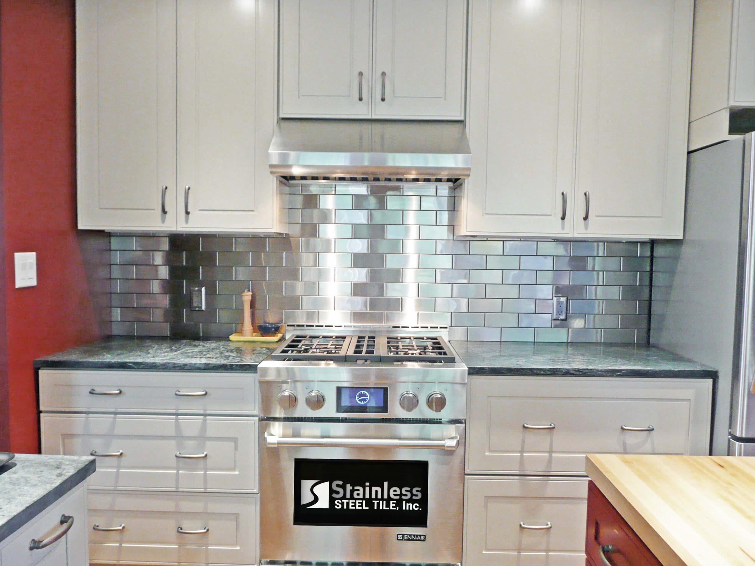Red Wall Stainless Steel Tile backsplash