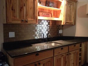 Profile 3D Kitchen Design with Stainless Steel Tile Backsplash